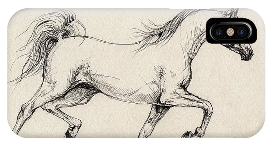 Grey IPhone X Case featuring the drawing Arabian Horse Drawing 31 by Angel Ciesniarska