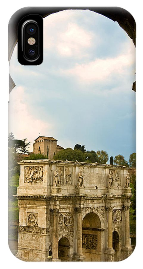Arch Of Constantine IPhone X / XS Case featuring the photograph Arch Of Constantine Through The Colosseum by Pam Elliott