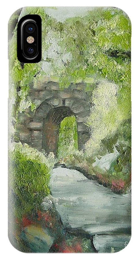 New York IPhone X Case featuring the painting Archway In Central Park by Laurie Morgan