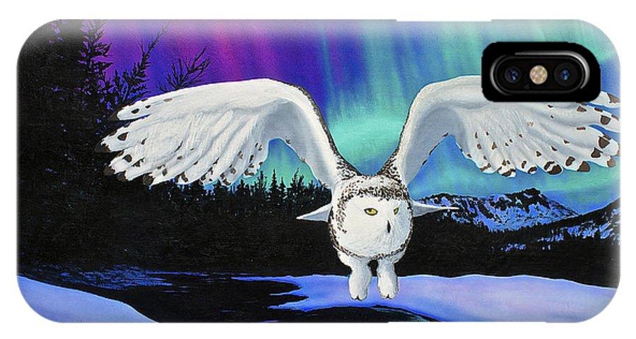 Owl IPhone X Case featuring the painting Arctic Owl by Ethan Foxx