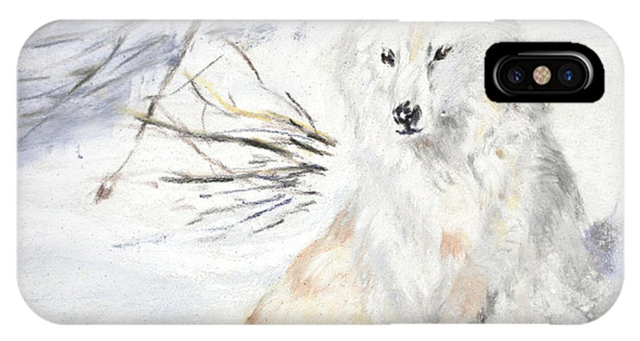 Arctic IPhone X Case featuring the painting Arctic Wolf by Sandy Brooks