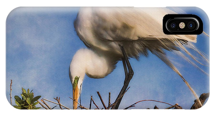 Egret IPhone X Case featuring the photograph Are They Going To Hatch Soon by Deborah Benoit