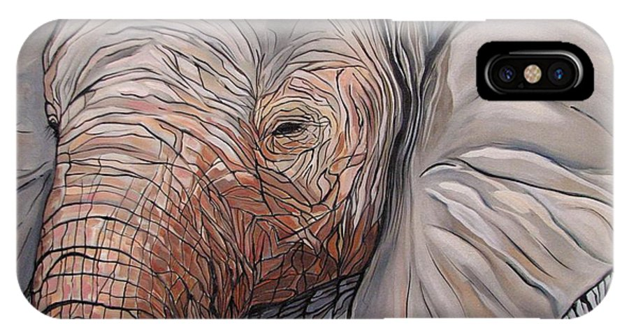 Elephant Bull Painting IPhone X Case featuring the painting Are You There by Aimee Vance