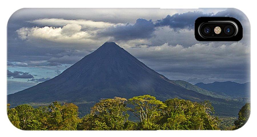 Landscape IPhone X Case featuring the photograph Arenal Volcano by Deidre Elzer-Lento