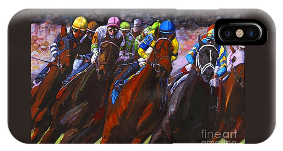 Horses IPhone X Case featuring the painting Around The Turn They Come by Thomas Michael Meddaugh