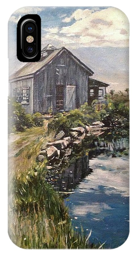 Landscape IPhone X Case featuring the painting Art Barrn At Star Island New Hampshire by Victor SOTO