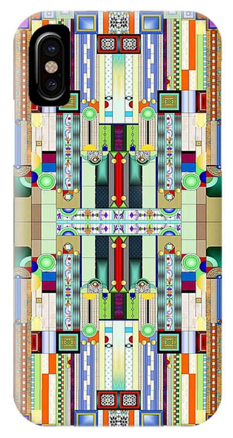 Art Deco Stained Glass IPhone X Case featuring the digital art Art Deco Stained Glass 2 by Ellen Henneke