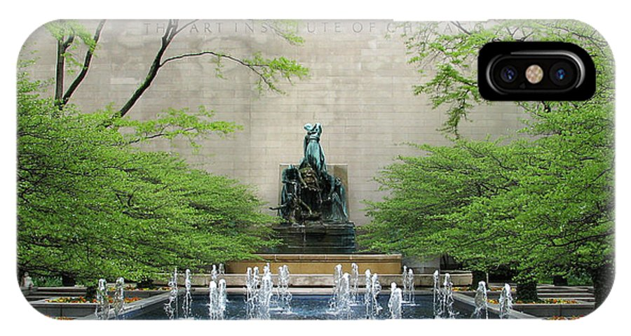 Chicago IPhone X Case featuring the photograph Art Institute Fountain by Eric Mace