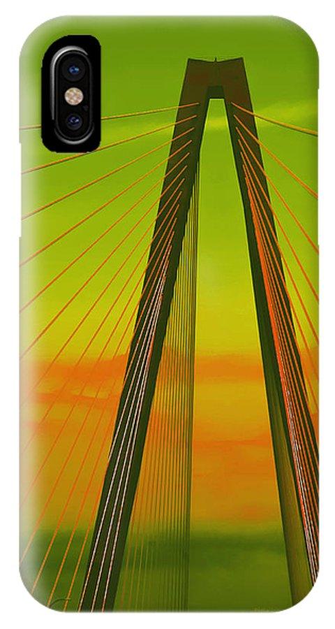 Bridge IPhone X Case featuring the photograph Arthur Ravenel Jr Bridge V by DigiArt Diaries by Vicky B Fuller
