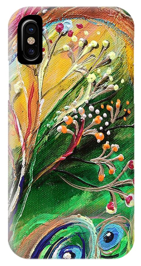 Jewish Art Prints IPhone X Case featuring the painting Artwork Fragment 48 by Elena Kotliarker
