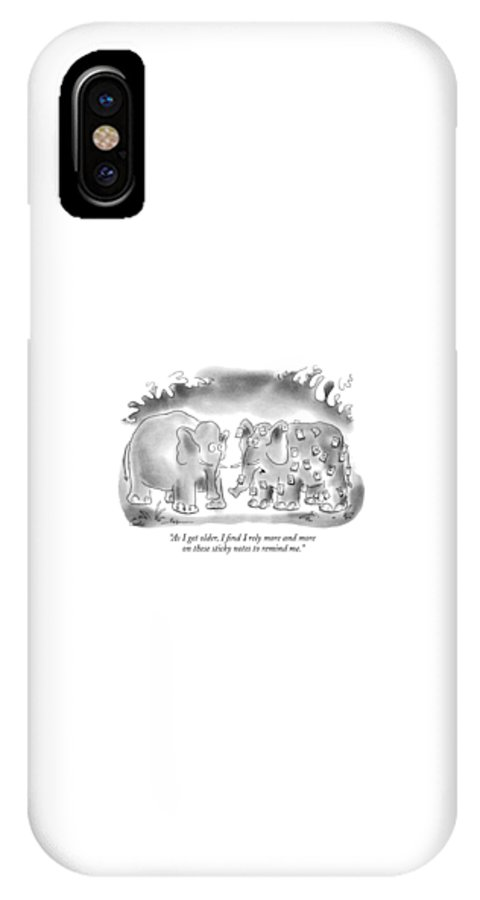 Animals IPhone X Case featuring the drawing As I Get Older by Arnie Levin