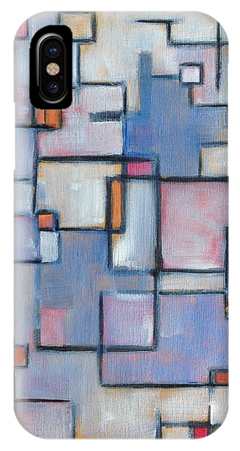 Abstract IPhone X Case featuring the painting Asbtract Line Series by Patricia Cleasby
