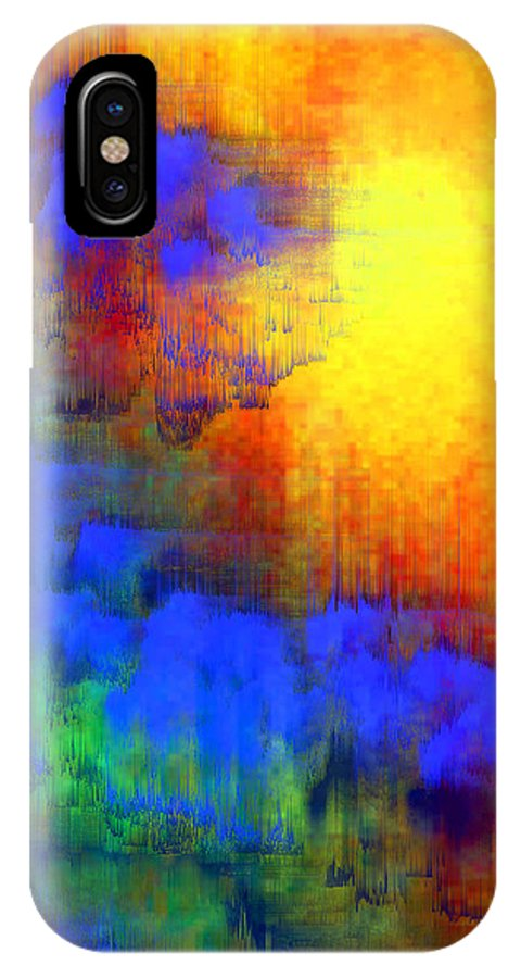 Abstract IPhone X Case featuring the digital art Asian Sunset by Bruce Shannahoff