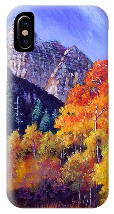 Mountains IPhone X Case featuring the painting Aspens in Sunlight by John Lautermilch