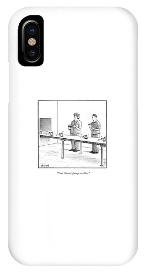 Factories IPhone X Case featuring the drawing Assembly Line Worker Trying On 'groucho Marx' by Harry Bliss