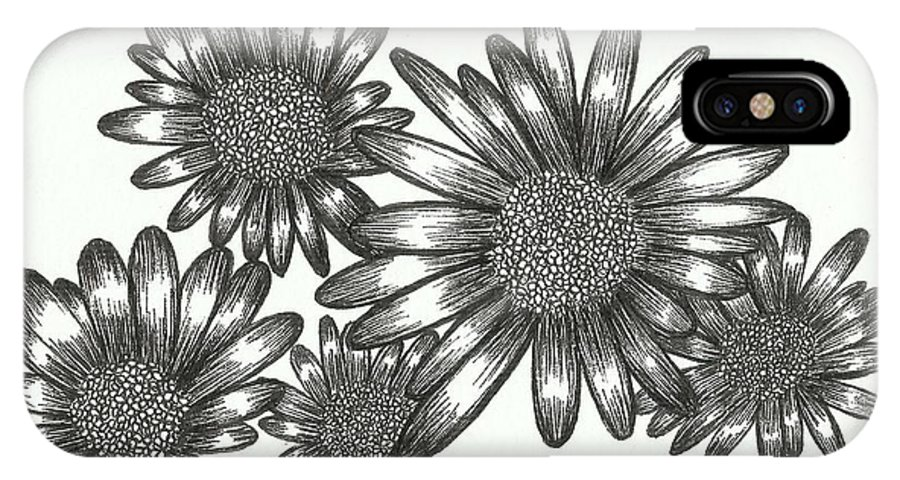 Floral IPhone X Case featuring the drawing Asteraceae by Mei Mei