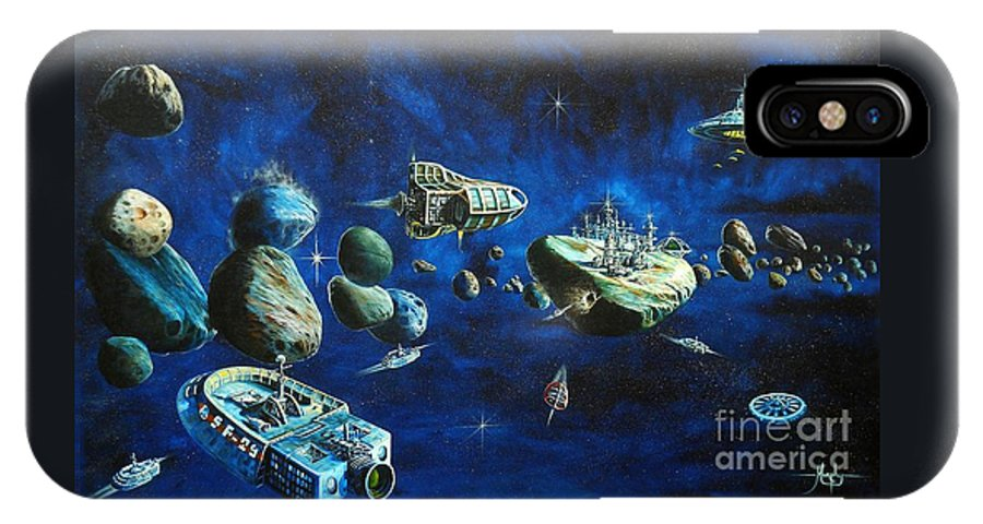 Fantasy IPhone X Case featuring the painting Asteroid City by Murphy Elliott
