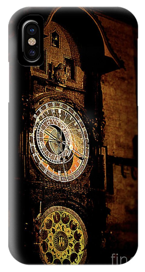 Astronomical IPhone X Case featuring the pyrography Astronomical Clock Prague Czech Republic by Megan Victoria