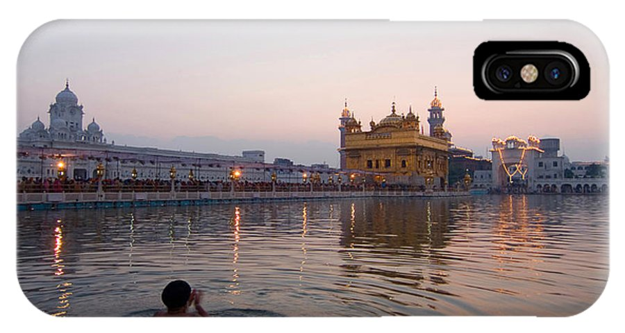 Golden Temple IPhone X Case featuring the photograph At Dawn by Devinder Sangha