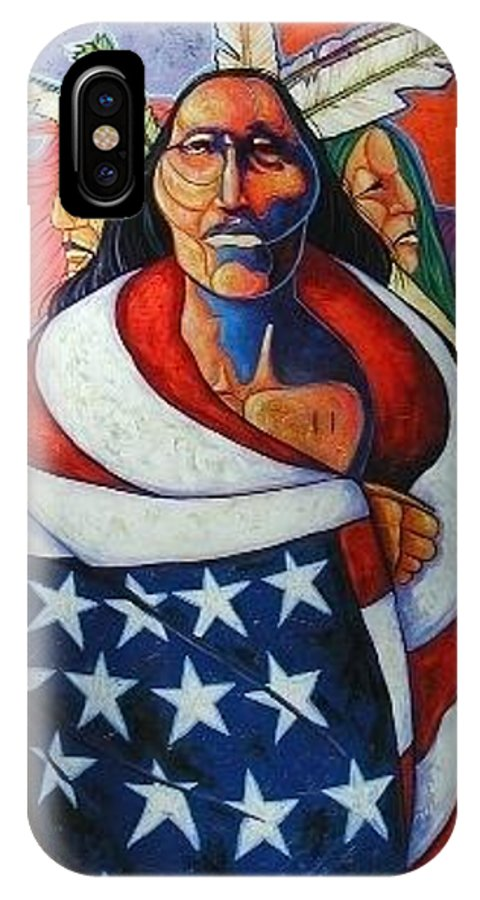 American Indian IPhone Case featuring the painting At The Crossroads by Joe Triano