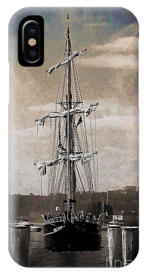 Ship IPhone X Case featuring the photograph At The Harbor by Ben Yassa
