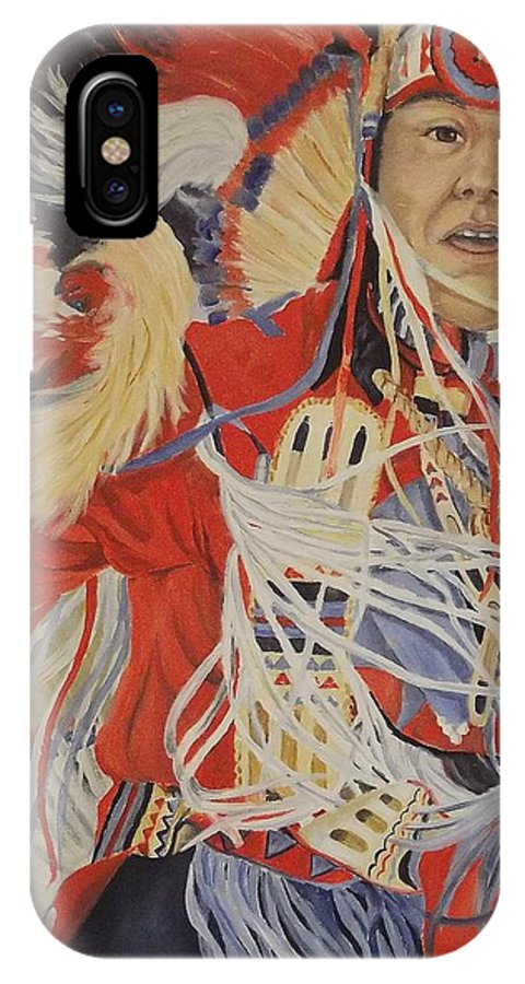 Indian IPhone X Case featuring the painting At the Powwow by Wanda Dansereau