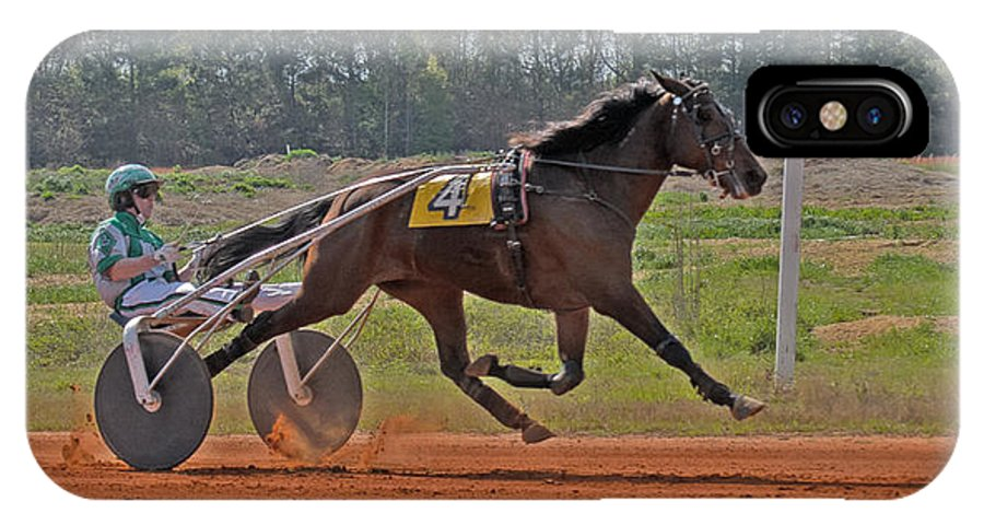 Harness Racing IPhone X Case featuring the photograph At The Three Quarter Mile Post by Donna Brown