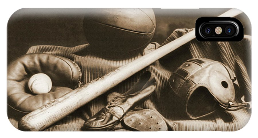 Athletic Equipment 1940 IPhone X Case featuring the photograph Athletic Equipment 1940 by Padre Art