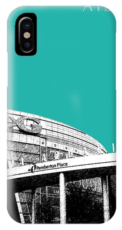 Architecture IPhone X Case featuring the digital art Atlanta Georgia Aquarium - Teal Green by DB Artist