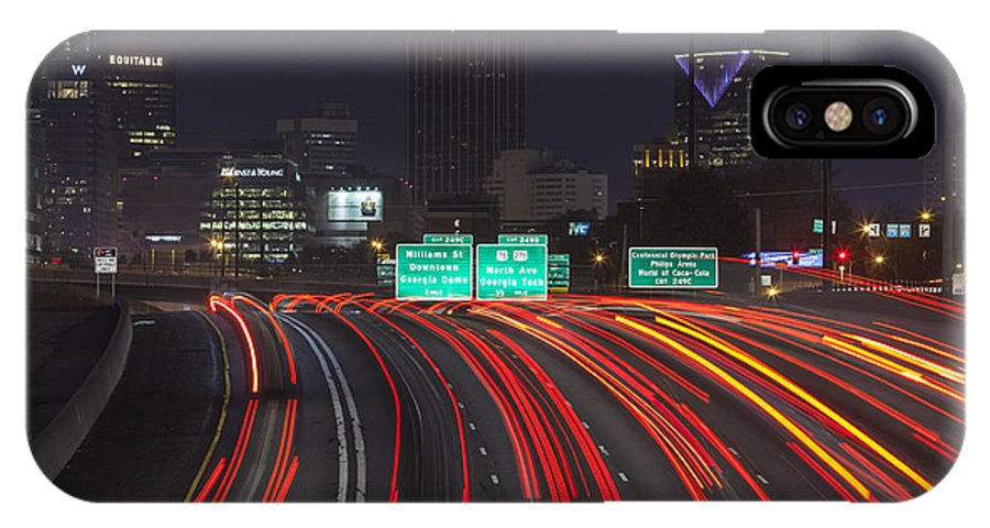 Atlanta IPhone X Case featuring the photograph Atlanta Interstae 85 Night by Trekkerimages Photography