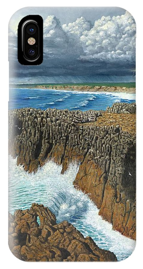 Landscapes IPhone X Case featuring the painting Atlantic Breakers Pontal Portugal by Richard Harpum