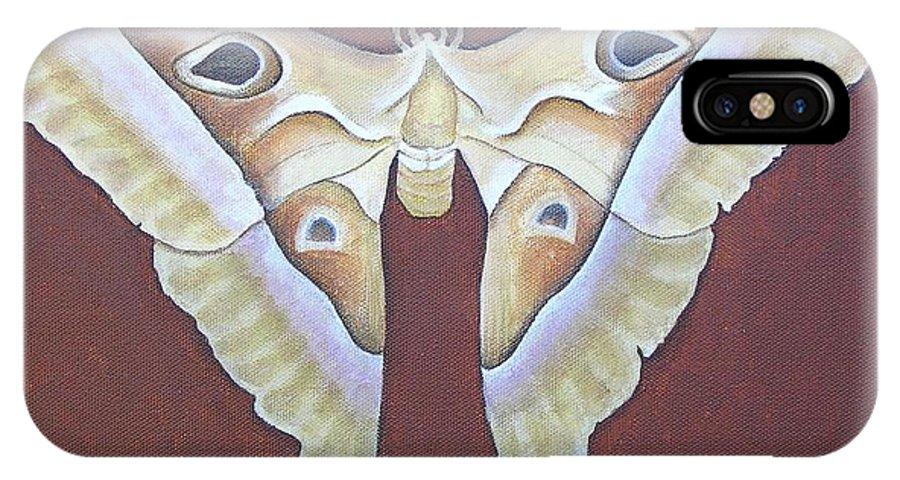 Mishel Vanderten IPhone X Case featuring the painting Atlas Moth by Mishel Vanderten