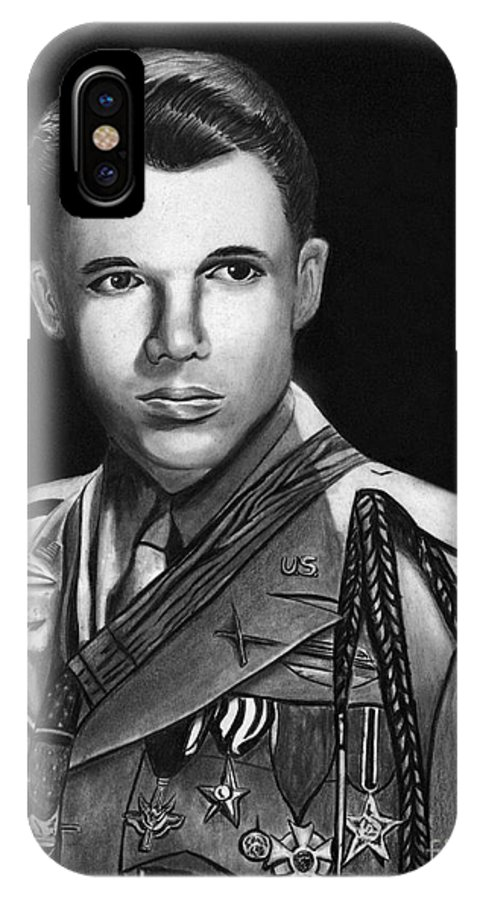 Audie Murphy IPhone X Case featuring the drawing Audie Murphy by Peter Piatt