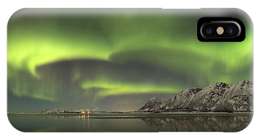 Aurora Borealis IPhone X Case featuring the photograph Aurora Borealis From The Beach by June Groenseth