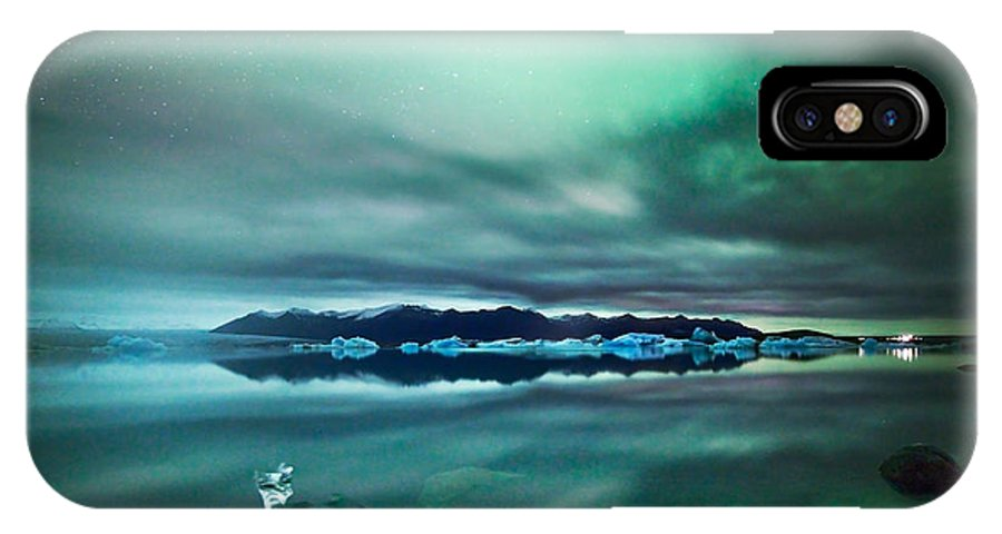 Aurora IPhone X Case featuring the photograph Aurora Borealis Northern Lights Over Glacial Lagoon In Iceland by Matteo Colombo
