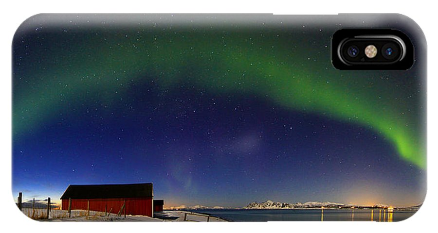 Aurora Borealis IPhone X Case featuring the photograph Aurora Borealis Panorama Pan Starrs by June Groenseth