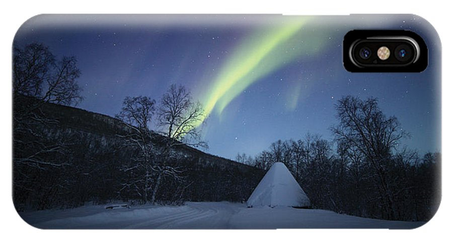 Aurora IPhone X Case featuring the photograph Aurora On A Blue Night Sky by Pekka Sammallahti
