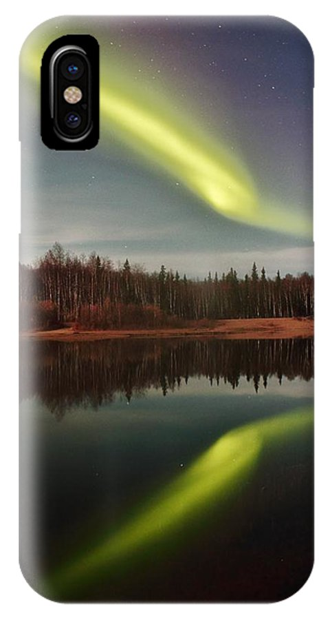 Alaska IPhone X Case featuring the photograph Aurora Reflections by David Broome