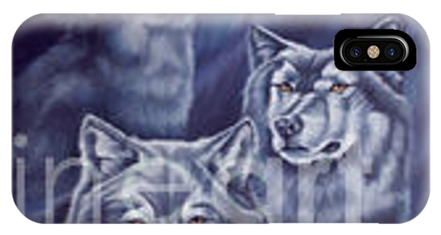 Wolf IPhone X Case featuring the painting Aurora Wolves by Wendy Froshay