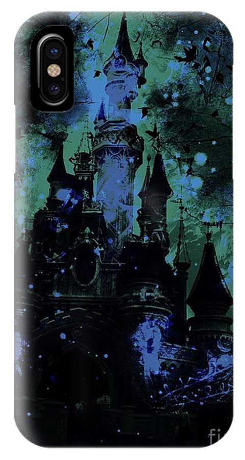 Sleeping Beauty Castle IPhone X Case featuring the digital art Aurora's Nightmare by Marina McLain