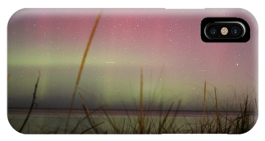 Northern Lights IPhone X Case featuring the photograph Auroras Over Lake Michigan by Jackie Novak