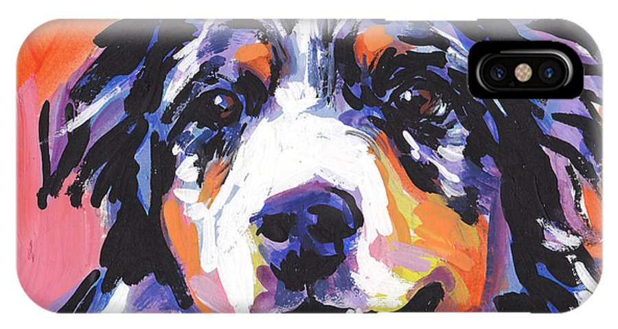 Australian Shepherd IPhone X Case featuring the painting Aussie Luv by Lea S