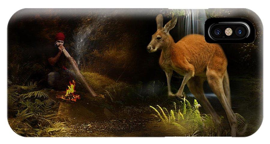 Kangaroo IPhone X Case featuring the digital art Australian Dreaming by Trudi Simmonds