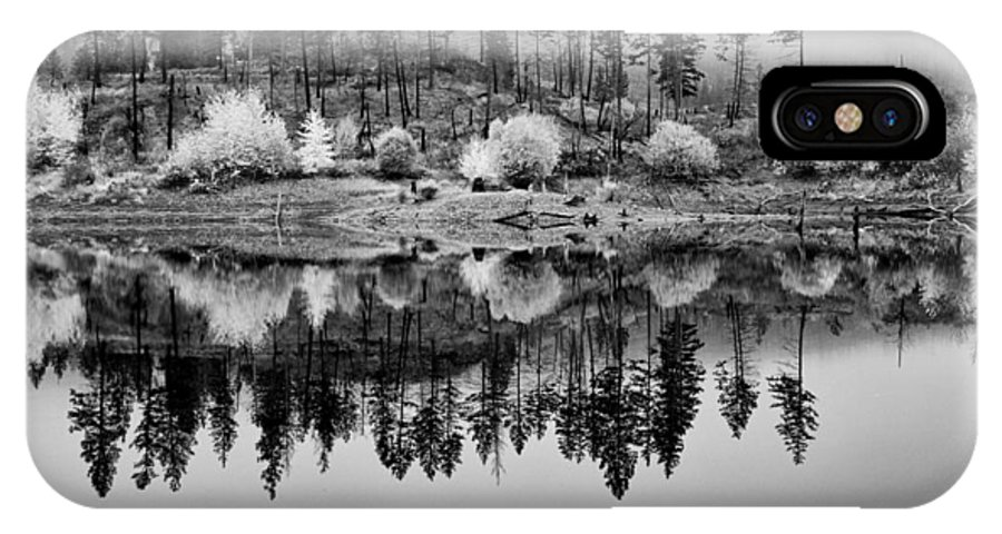 British Columbia IPhone X / XS Case featuring the photograph Autumn Reflection Black And White by Allan Van Gasbeck