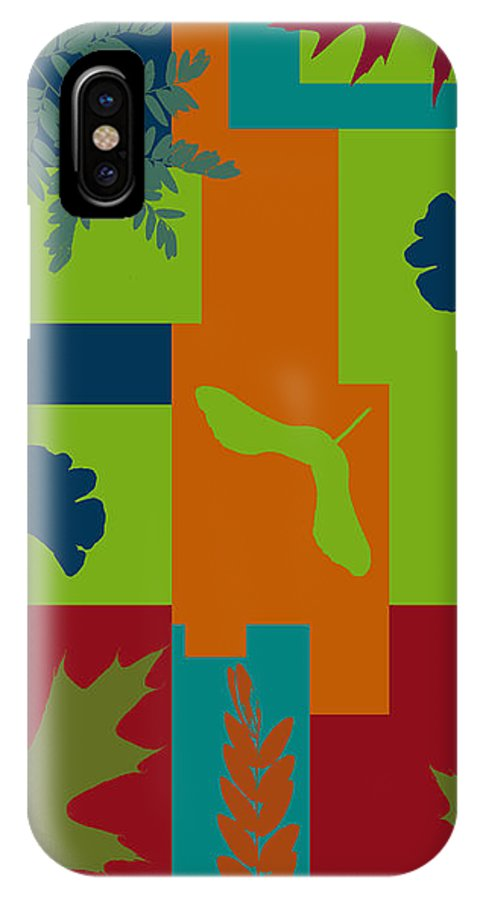 Abstract IPhone X Case featuring the digital art Autumn Abstract A La Matisse by Jo-Anne Gazo-McKim