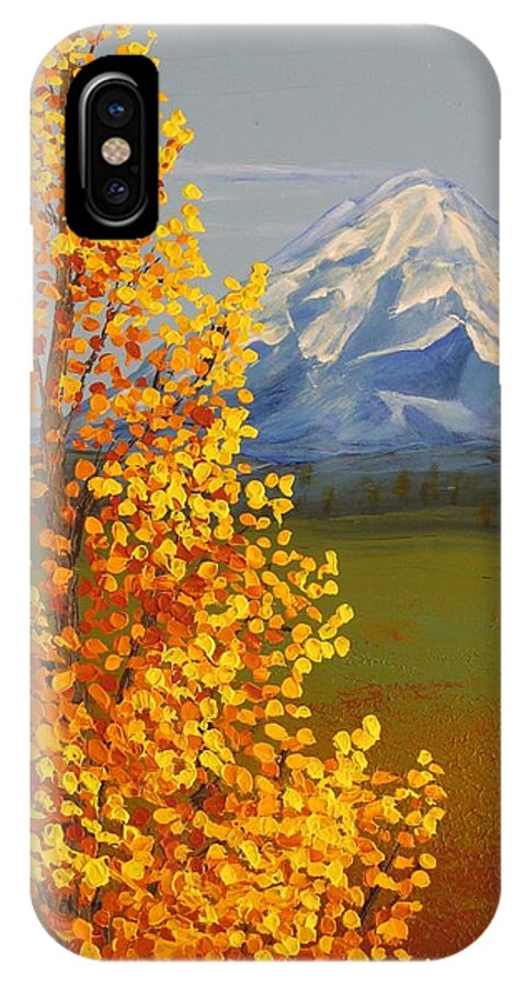 Mt. Shasta IPhone X Case featuring the painting Autumn At Mt Shasta by Wanda Pepin