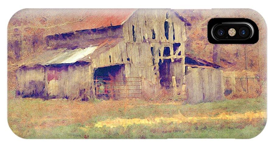 Barn IPhone X Case featuring the digital art Autumn Barn by Ryan Burton