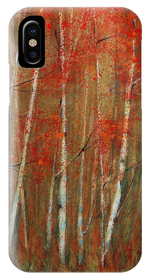 Birch Trees IPhone X Case featuring the painting Autumn Birch by Jani Freimann