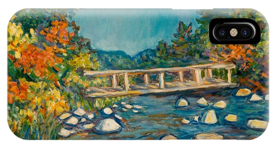 Kendall Kessler IPhone X Case featuring the painting Autumn Bridge by Kendall Kessler