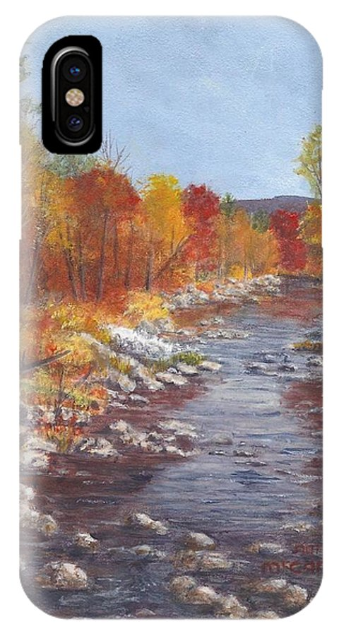 Nh IPhone X Case featuring the painting Autumn Brook by Nan McCarthy